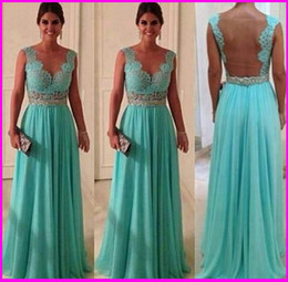 Wholesale 2014 Modest Custom Made Crystal Beaded A Line V Neck Floor Length Chiffon Lace Backless Long Formal Evening Gowns Party Celebrity Prom Dress