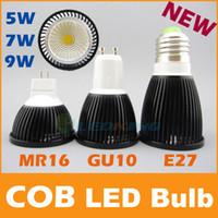 cob led - COB LED Bulb W W W black shell high brightness Lamp GU10 E27 MR16 AC85 V DC V LED COB Spotlight downlight CE ROHS