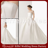 Wholesale 2014 Vintage Cheap Ivory Satin Wedding Dresses with A Sexy Sheer Unique Embroidery Jacket and Embellished Two Pockets Ball Gown Bridal Gowns