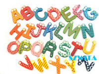 Wholesale 26 alphabet Wooden Colorful Cartoon Fridge Magnets Refrigerator sticker cute Magnetic sticker N02dandys