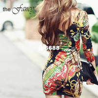 Casual Dresses V_Neck Mini Sexy Plus Size Dress Flower Print mini bodycon brief party casual clothes club wear new fashion women winter spring summer 2014