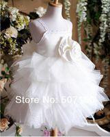 Wholesale 2014 Latest style cupcake princess dress baby girls dresses flower girl dress children dresses white size Year