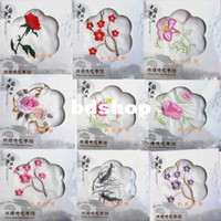 Wholesale Silk handkerchiefs embroidered gift emulation silk flowers much machine embroidery small squares