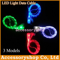 Wholesale Visible LED Light USB Sync Universal Luminous Micro USB Data Link For Samsung Galaxy S4 Sony HTC Charging V8 Colorful Cable Line DHL