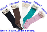 Wholesale fedex dhl ship pairs baby girl lace top socks kids Stockings classic knee BOOT high socks with lace solid color cotton socks color melee