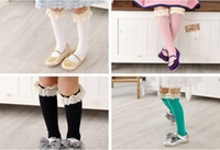 Wholesale fedex ems dhl ship girls lace top stockings kids bow socks girls knee BOOT high socks baby girls ruffle lace top socks pc pairs Melee