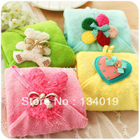 Wholesale Sweet little cute sweet candy colors coral velvet hanging towel