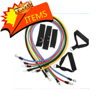 Wholesale 11Pcs in Set Fitness Resistance Bands Exercise Tubes Practical Elastic Training Rope Yoga Pull Rope Pilates Workout Cordages