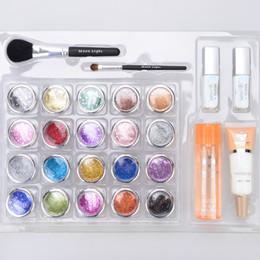 Wholesale - Free shipping 20 pcs Glitter Tattoo Kit Powder Brushes   Glue   Stencils for Temporary Tattoo  body painting Kit