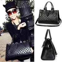 Wholesale S5Q Women s Satchel Fashion Black PU Leather Handbag Tote Shoulder Bag Messenge AAACZU