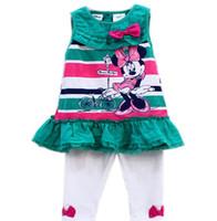 Cheap children summer clothing 2014 Baby Girls Kids Minnie Mouse Sleeveless Striped T-Shirt Pants Cartoon 2Piece Outfit Suit Set