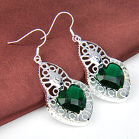 Wholesale Sterling Silver Wholesale Mexico - Newest Mexico Female lovely Green Heart Crystal Earring 925 silver jewelry Free Shipping E0036