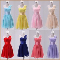 Wholesale Can Custom Clothing New Women Short Mini Bridesmaids Dress One Shoulder Sleeveless Wedding Cocktail Party Dresses US Sz