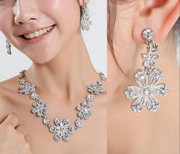 Wholesale Flowers Crystal Earring Necklace Statement Jewelry Sets for Party Homecoming Cocktail Wedding Bridal Prom Dresses
