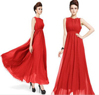 Casual Dresses as picture Ankle Length cheap plus size XXL long casual chiffon dress maxi boho dress women sexy party dresses new fashion 2014 spring summer dress red