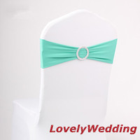 Wholesale 200 Tiffany Blue Spandex Chair Sash Lycra band With Buckle For Wedding