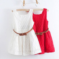 TuTu Summer A-Line 2014 Summer Girls Lace Sundress Children White Vest Dress Sling Dress Red Lace Camisole Princess Skirt 5pcs lot