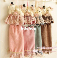 bear hand towels - kitchen supplis Fashion classic flannelet bear towel ultrafine fiber towel lace hand towel mix order