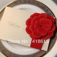 Invitations & Invitation Buckles Folded Champagne New arrive Luxurious 3D Red Flower Wedding Invitation In Ivory gorgeous red flower with diamond come with envelope shipping free