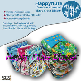 Wholesale Happyflute onesize bamboo charcoal baby cloth diaper double leaking guards waterproof and breathable fit babies kgs diapers