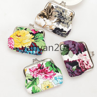 Wholesale Zakka purse Vintage flower coin purse canvas key holder wallet hasp small gifts bag clutch handbag