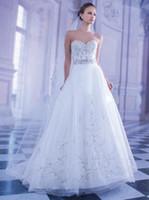 A-Line demetrios wedding dress - Embroidery A line Wedding Dresses Demetrios Tulle Skirt with Sweetheart Backless Bridal Gown