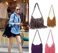 Cheap bolsa feminina hot womens messenger bags vintage leather handbags designer tassel bag cross body shoulder bag hobos