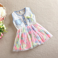 TuTu Summer A-Line 2014 Fashion Baby Girls Dress Sleeveless Lace Tank Top Dresses Korean Style Summer Clothes 4pcs lot