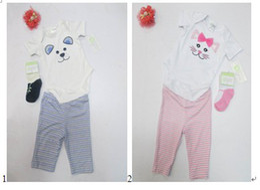 short sleeve 3 pcs set Infant Rompers pant socks pajamas Toddler romper 12 sets lot