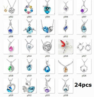Wholesale 925 silver necklace Swarovski Elements Austrian crystal plating platinum necklace pendant Optional style otherwise random