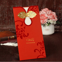 Cheap 50pcs wedding invitation of red style come with envelopes customized shipping free wholesale