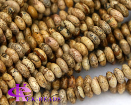 """Discount Wholesale Natural Yellow Picture Jasper Rondelle Loose Stone Small Beads Fit Jewelry DIY Necklaces or Bracelets 15.5"""" 03243"""