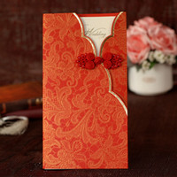 Wholesale Classic Chinese red gown style wedding invitations with knot customized