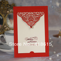 Wholesale New arrive shipping free red delicate lace cut out wedding invitations with diamond customizable