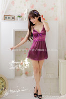Wholesale Sexy Purple Lingerie Satin Chemise Babydoll Mini Dress With G String