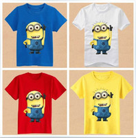 Unisex Summer Short New Children's despicable me t shirt boy tshirts girl Tshirts children cotton Beedo Tshirt kids Minions clothing 5 colors 2Y-7Y 10pcs lot