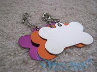 Small big ids - Creative cute Big bone Dog Tags Anodized Customized Pet ID Ball Chains
