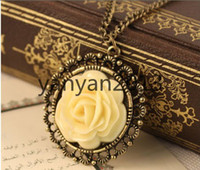 Pendant Necklaces Alloy Alloy Silver Plate/Fill  Vintage Style Cream-color Resin Rose Flower Pendant Necklace women's Jewellery elegant disk pierced long sweater chain