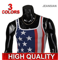 Wholesale 2014 Hot NEW Fashion Men s Tops Vest Shirt Men s American flag Slim Corsetry Sleeveless Garment T shirts
