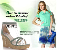Wholesale Lady sandals the new spring and summer leather wedge sandals with high waterproof zipper for women s shoes behind the podium