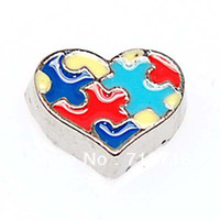 Wholesale DIY floating charm Autism Heart Charm for Floating Charm Lockets enamel heart floating charm