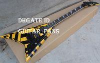 Wholesale Michael Sweet Flying V Stryper Black Yellow Stripes Super Rare Custom Electric Guitar Black Pickguard Tremolo Bridge Black Hardware