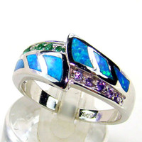 Three Stone Rings Women's Bezel setting NEW ! High Quality Blue Fire Opal Rings With Green Crystal With Purple Crystal Wedding Rings Free Shipping