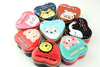 Wholesale New fashion Heart shaped secret Tin box tea case clip holder