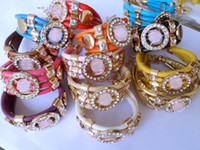 Wholesale 2014 HOT Sale occident retro hippie personalized candy colored PU leather bracelet bracelet new listingt