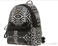 Wholesale MCM new fashion rivet zebra Korean men women shoulder bags backpack Genuine leather Size S M L