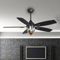 Wholesale 2013 new arrival Ceiling fan light fan lamp yof black classical fashion remote control with light