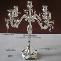 Wholesale Silver plated light candelabra metal candlesticks candle holder with crystal decorative for wedding decoration B099