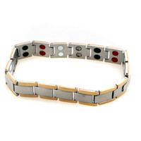 Wholesale 2014 Womens Mens Magnetic Healthy K Gold Plated L Stainless Steel Link Chain Box Bracelets Bangle Fashion Jewelry