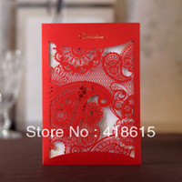 Invitations & Invitation Buckles Folded Red 50pcs elegant and luxery red wedding invitation with red envelope hollowed-out card wholesale